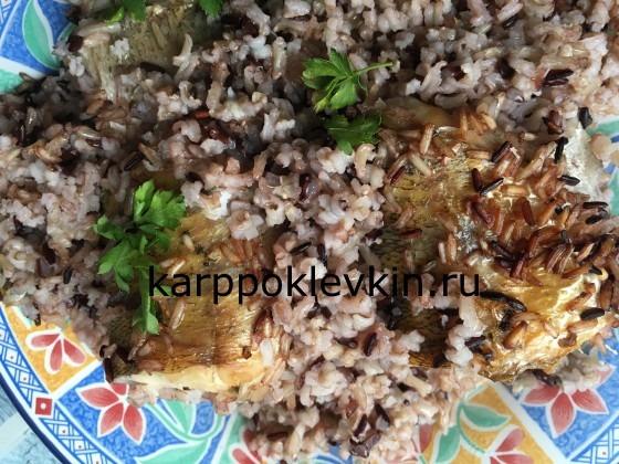 Судак с диким рисом и зеленой абхазской аджикой